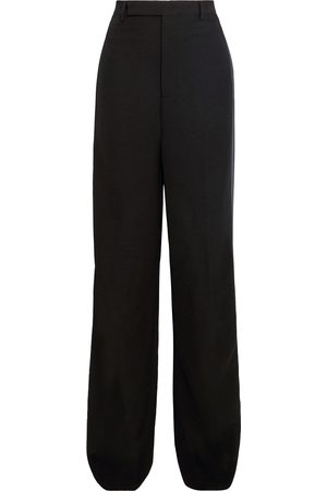 Rick Owens Woman Loose Tux Satin-trimmed Wool-blend Crepe Wide-leg Pants Size 40