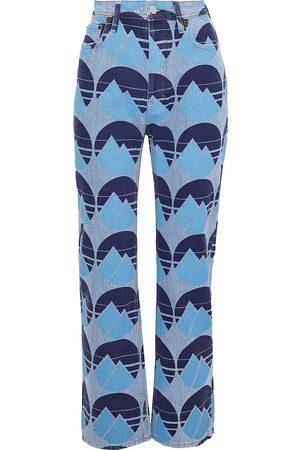 Acne Studios Woman Log Printed High-rise Straight-leg Jeans Light Denim Size 24W-34L