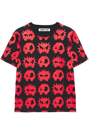 McQ Woman Printed Coated Cotton-jersey T-shirt Size L