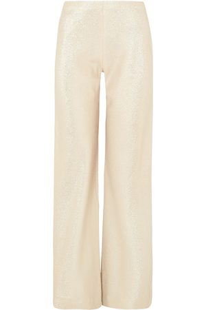 ROSETTA GETTY Woman Metallic Crepe Wide-leg Pants Platinum Size 0