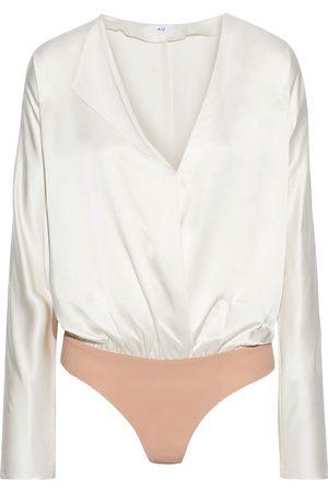 Alix NYC Woman Wrap-effect Silk-charmeuse Bodysuit Ivory Size XS
