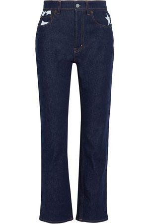 Acne Studios Woman Log Printed High-rise Straight-leg Jeans Dark Denim Size 22W-32L