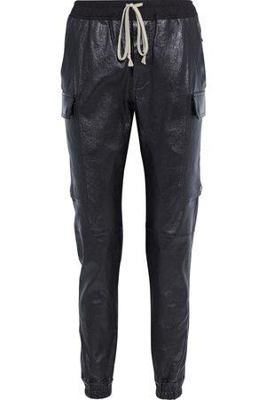 Rick Owens Woman Cargo Jog Stretch-leather Track Pants Size 42