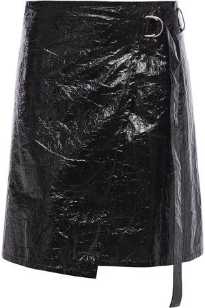 Helmut Lang Woman Crinkled Coated-canvas Mini Wrap Skirt Size M