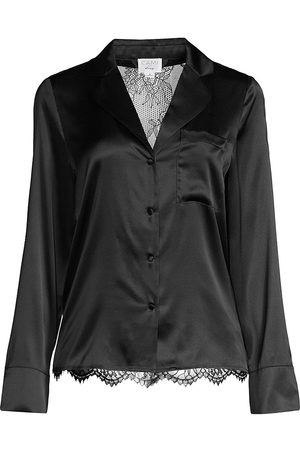 CAMI Women's Kamry Lace-Trimmed Satin Pajama Shirt - - Size XS