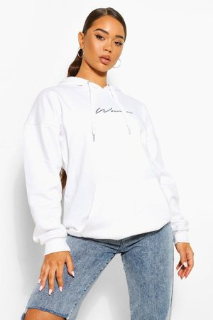 Boohoo Womens Oversized Embroidered Woman Script Hoodie - - 2