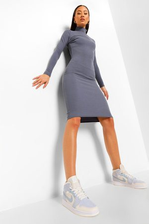 Boohoo Womens Premium Ribbed High Neck Midi Dress - - 2