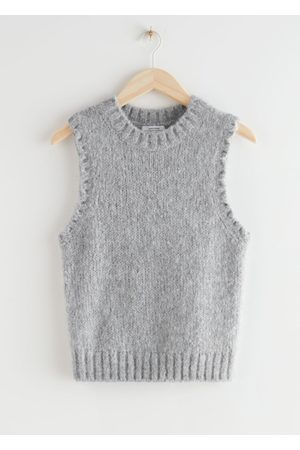 & OTHER STORIES Women Tank Tops - Fuzzy Scallop Knit Vest - Grey