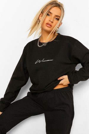 Boohoo Womens Oversized Embroidered Woman Script Sweatshirt - - 2