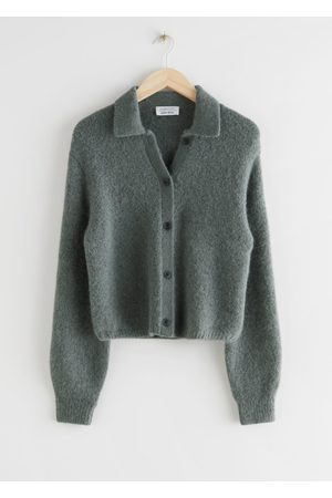 & OTHER STORIES Wool Blend Tortoise Button Cardigan - Grey