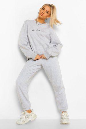Boohoo Womens Oversized Embroidered Woman Script Sweatshirt - - 2