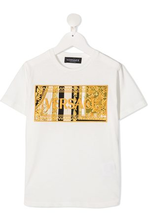 VERSACE Boys T-shirts - Barocco embroidered-logo T-shirt