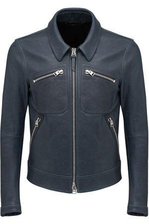Tom Ford Men Leather Jackets - Worked Leather Shirt Jacket