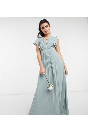 TFNC Bridesmaid lace detail maxi dress with flutter sleeves in sage