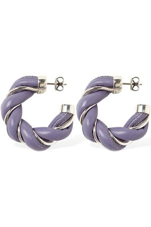 Bottega Veneta Wrinkled Leather Hoop Earrings