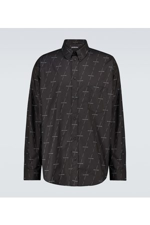 Balenciaga Long-sleeved cotton shirt with logo