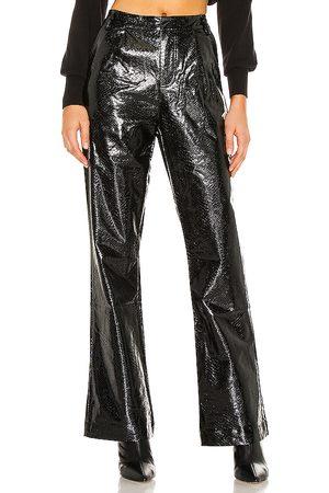 KENDALL + KYLIE Vegan Leather Wide Leg Pant in Black.