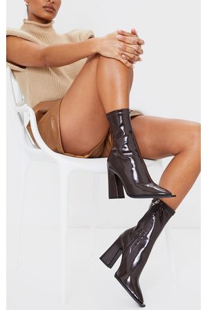 PRETTYLITTLETHING Chocolate Vinyl PU Square Toe Block Heel Ankle Sock Boots