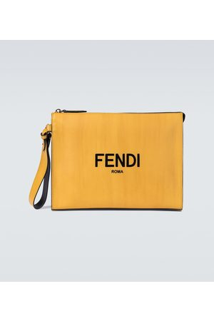 Fendi Logo leather pouch