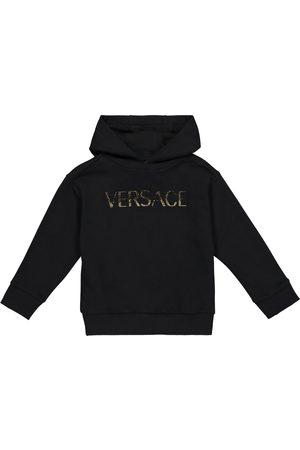 VERSACE Embellished logo cotton hoodie