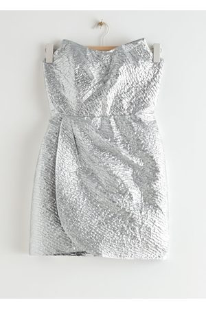 & OTHER STORIES Draped Strapless Jacquard Mini Dress