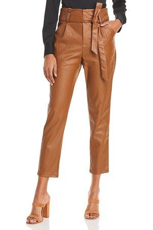 LUCY PARIS Faux Leather Paperbag-Waist Pants - 100% Exclusive