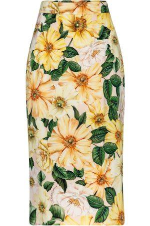 Dolce & Gabbana Floral silk crêpe de chine midi skirt