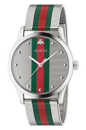 Gucci G-Timeless Contemporary 42mm Watch in Metallic,Stripes