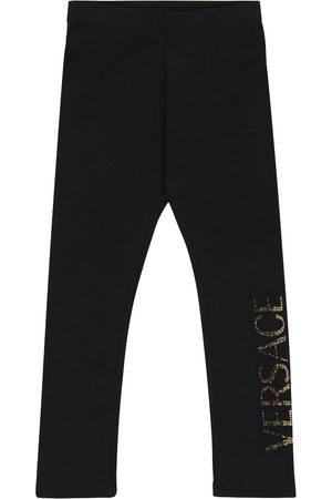 VERSACE Embellished stretch-cotton leggings