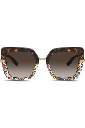 Dolce & Gabbana Printed square-frame sunglasses
