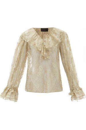 Dundas Women Blouses - Ruffled Cotton-blend Chantilly-lace Blouse - Womens