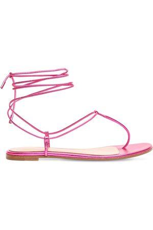 Gianvito Rossi 10mm Gwyneth Metallic Leather Sandals