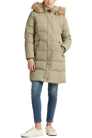 LAUREN RALPH LAUREN Women's Faux Fur Trim Down Puffer Coat