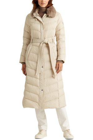 LAUREN RALPH LAUREN Women's Belted Long Down Coat With Faux Fur Collar