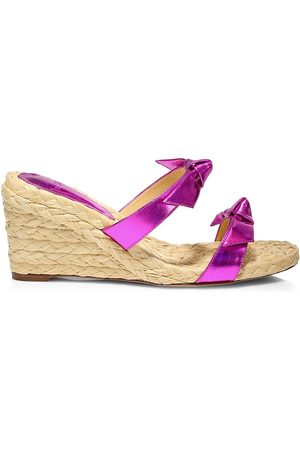 ALEXANDRE BIRMAN Women's Clarita Iridescent Leather Espadrille Wedge Mules - - Size 11