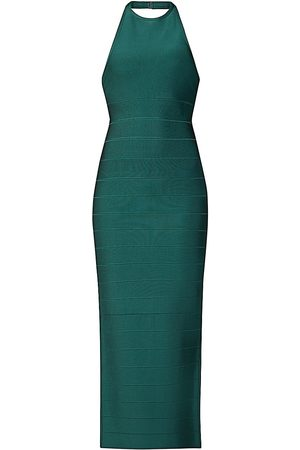 Hervé Léger Women's Halter Bodycon Gown - - Size Medium