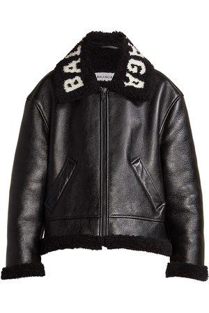 Balenciaga Cocoon Shearling Collar Leather Coat