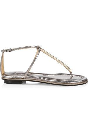 ALEXANDRE BIRMAN Women's Riley Metallic Leather Thong Sandals - - Size 10.5