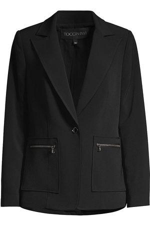 Toccin Women's Zip-Pocket Sleek Boyfriend Blazer - - Size XXL