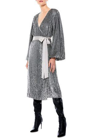 ALICE+OLIVIA Women's Anne Embellished Sequin Belted Wrap Dress - - Size 14
