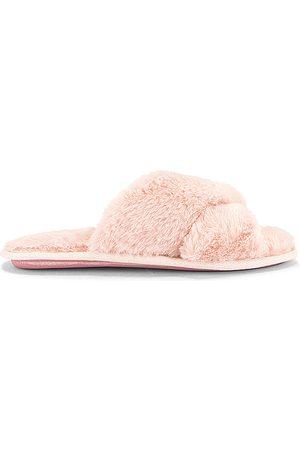 Flora Nikrooz Victoria Teddy Criss Cross Slipper in Pink.