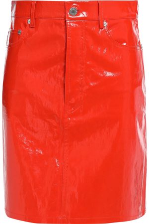 Helmut Lang Woman Patent-leather Mini Skirt Tomato Size 0