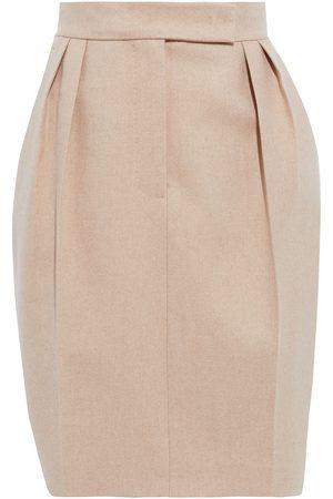 Max Mara Women Mini Skirts - Woman Laura Pleated Camel Hair And Cashmere-blend Mini Skirt Neutral Size 34