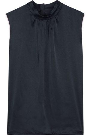 Max Mara Women Tank Tops - Woman Orel Gathered Silk-satin And Jersey Top Navy Size 38
