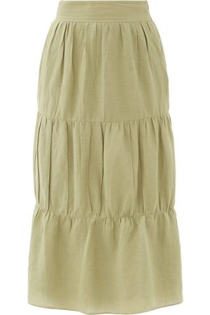 Adriana Degreas High-rise Tiered Voile Midi Skirt - Womens - Light
