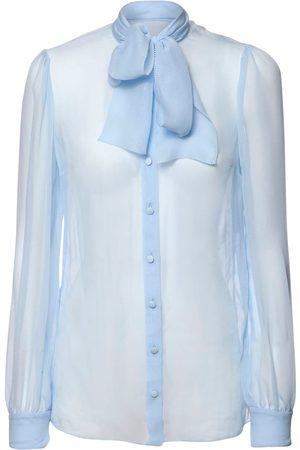 Dolce & Gabbana Sheer Silk Chiffon Shirt W/ Bow Collar