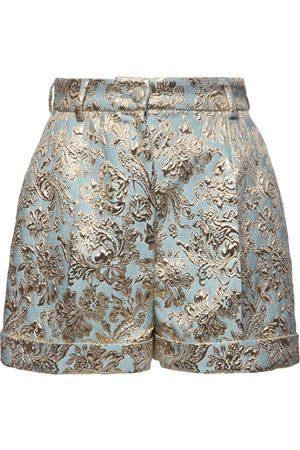 Dolce & Gabbana High Waist Jacquard Lamé Shorts