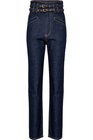Serafini High-rise belted tapered jeans