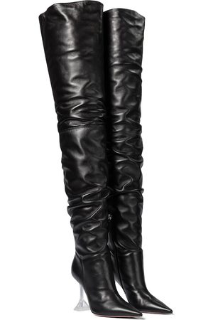 Amina Muaddi Olivia leather over-the-knee boots