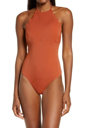 Chelsea Women's High Neck Scalloped One-Piece Swimsuit